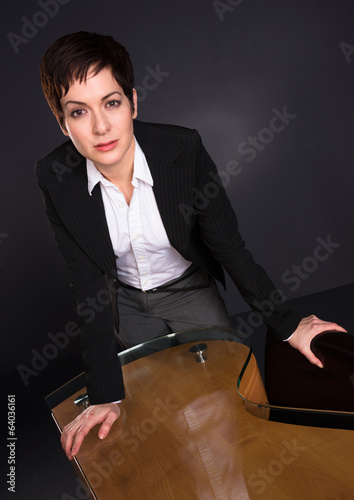 Serious Brunette Woman Draws Attention Business Female Office