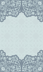 Abstract grey blue floral vintage card design
