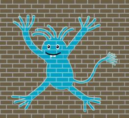 drawing on a brick wall