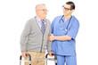 Male nurse helping a senior man with walker