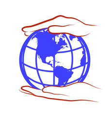 hands hold the globe