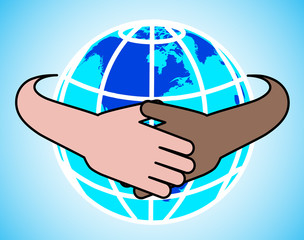 hands round the globe are symbolized by unity