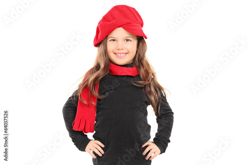 Fashionable little girl with red beret