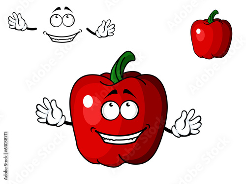 Happy red cartoon sweet bell pepper vegetable