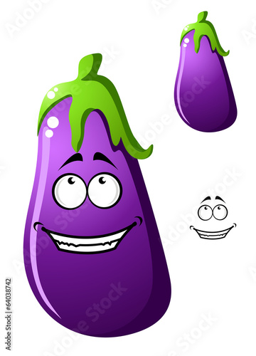 Colorful purple cartoon eggplant vegetable