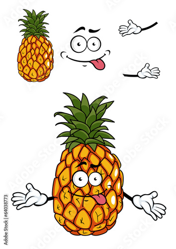 Happy cartoon tropical pineapple