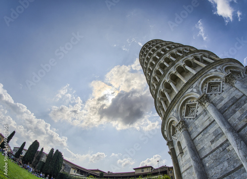 Pisa. Leaning Tower against dramatic sky