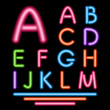 Neon Tube Letters. Multicolor Glowing Font. Vector