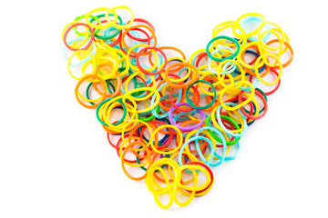 Heart shape of colorful hair bands