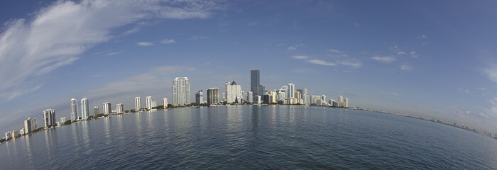 Miami city skyline fisheye view panorama at day