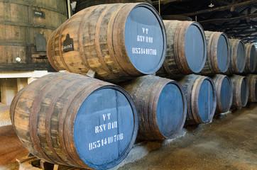 Wooden wine barrels in Porto, Portugal