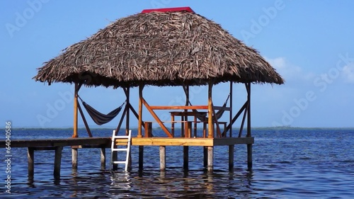 Hut on stilts over water with thatched roof