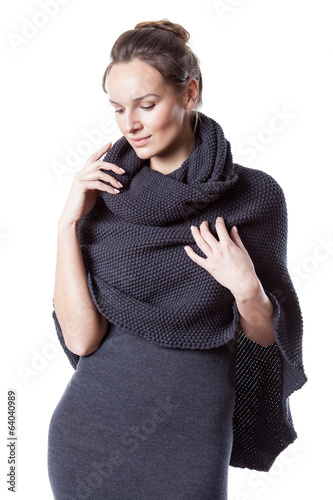 Pretty lady wearing woollen dress