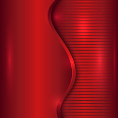 Vector abstract red background with curve and stripes