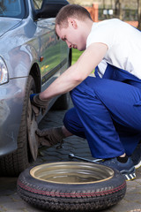 Mechanic changing flat tyre