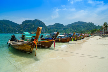 Long Tail Boats at Phi Phi Leh island