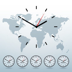 world map and world-time vector