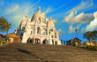 Beautiful sky in Paris - Montmartre and Sacred Heart Cathedral