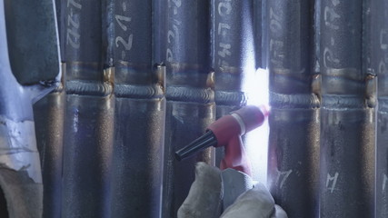 Gas tungsten arc welding close up