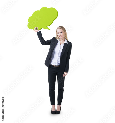 Lady Holding Green Speech Bubble
