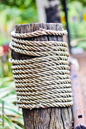 Rope on a wooden surface