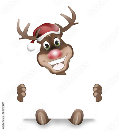 Paws Rudolph Christmas Blank White Board