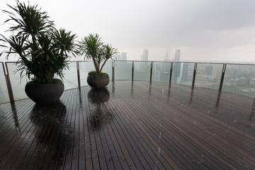 Midday monsoon rain in Singapore