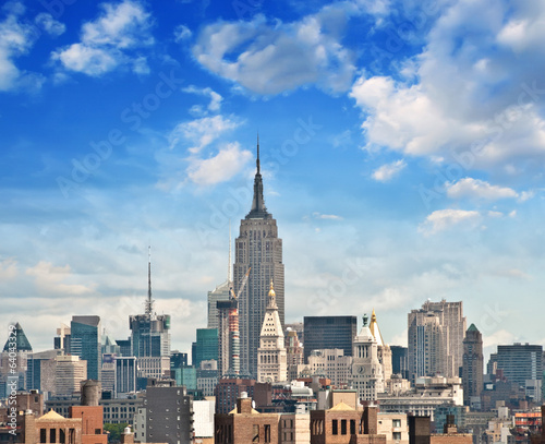 Wonderful view of Manhattan Skyscrapers with beautiful sky color