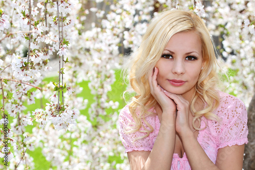 Blonde Girl with Cherry Blossom