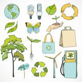 Doodles ecology and environment icons set poster