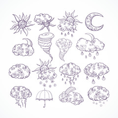 Doodle weather forecast graphic symbols