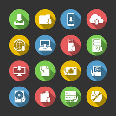 Internet Download Symbols Icons Set