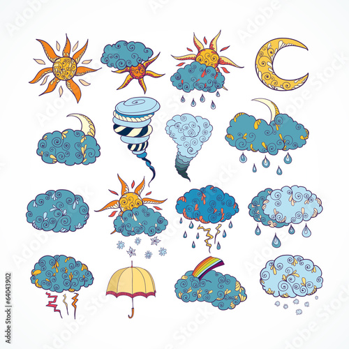 Doodle weather forecast design elements