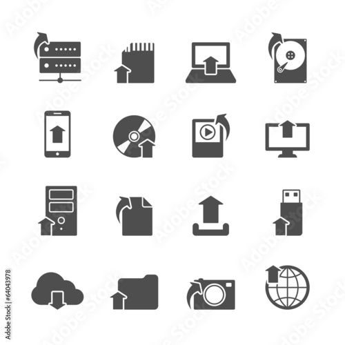 Internet Upload Symbols Icons Set