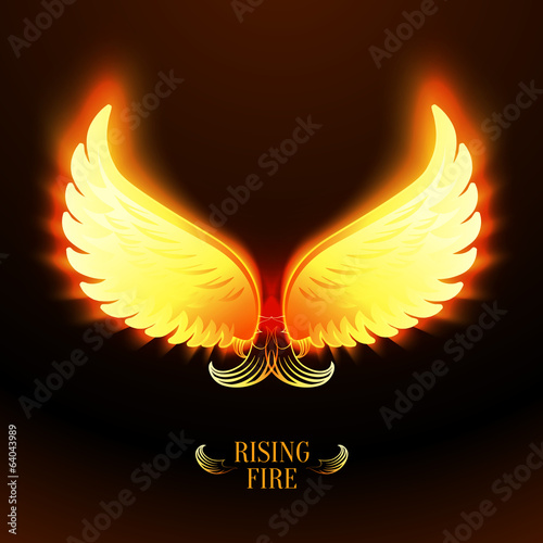 Bright glowing fire angel wings