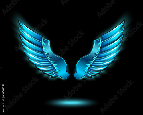 Blue glowing angel wings