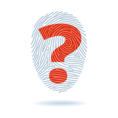 Fingerprint and question mark - identification concept