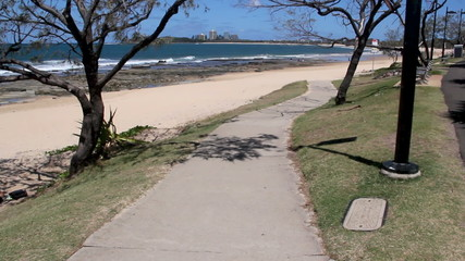 Looking down Mooloolaba Beach in Queensland Australia.