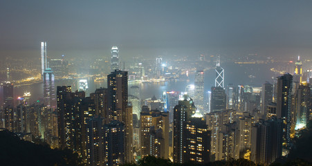 Panorama of Hong Kong and Kowloon from Victoria Gap, near the to