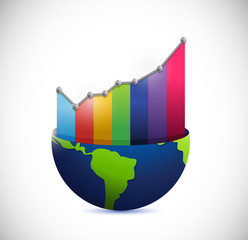 globe and color graph illustration design