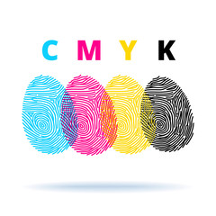 Fingerprints and CMYK colors mode - printing concept