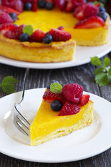 Lemon cake with summer berries.