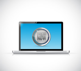 laptop and download now button illustration design