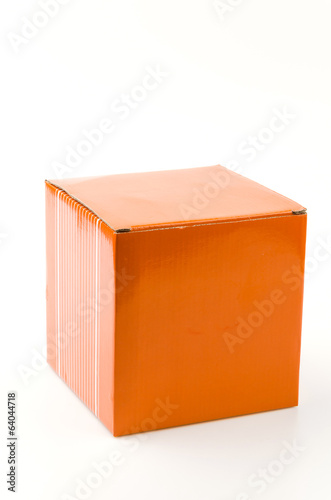 Orange box isolated white background