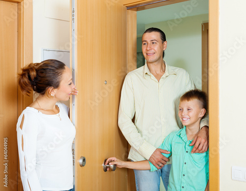 woman meeting husband and son