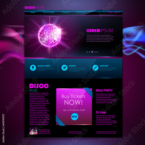 Website template design. Disco background