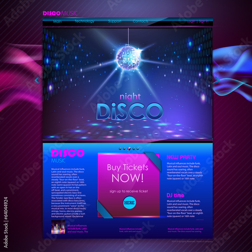 Web site template design. Disco background