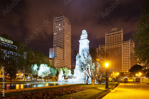 Night view of Madrid. Spain Square