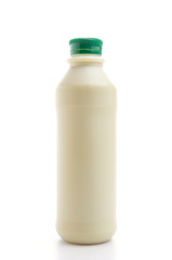 Green tea milk isolated white background