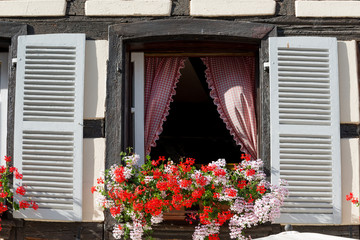 Window of typical house in historical Petite France, Strasbourg